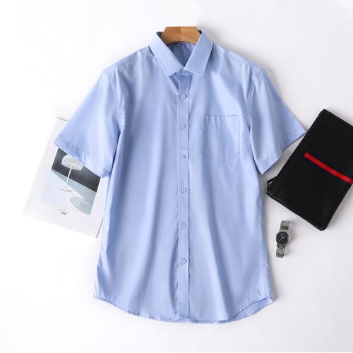 夏季天蓝色短袖衬衫商务正装男士定制