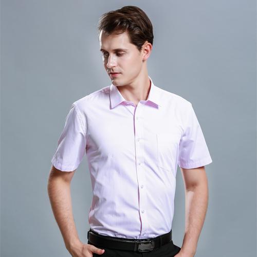 白衬衫男短袖免烫商务修身工装