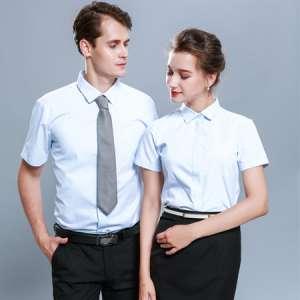 短袖工作服衬衫男女同款职业正装