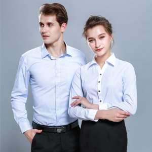 男女条纹衬衫长袖商务休闲职业装