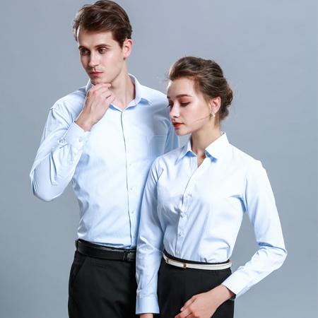 商务正装衬衫长袖浅蓝色
