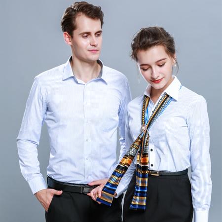 长袖浅蓝色条纹衬衫职业正装衬衣