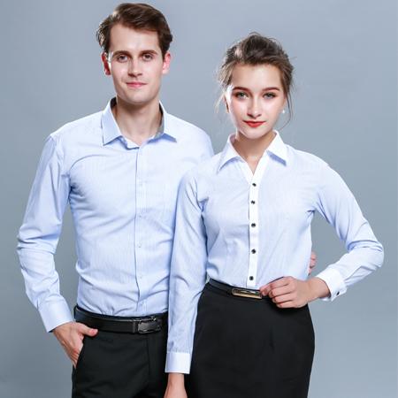 纯棉免烫条纹长袖衬衫商务正装