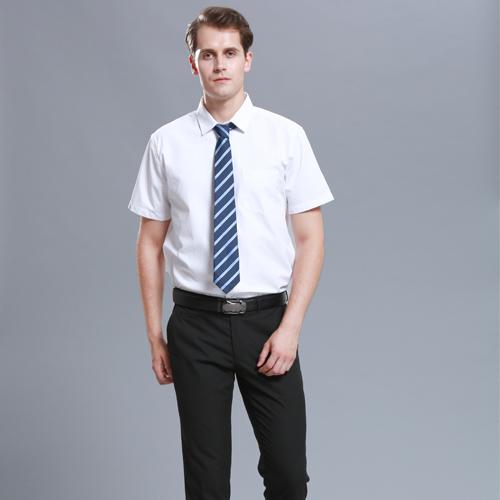 免烫男短袖工作服衬衫