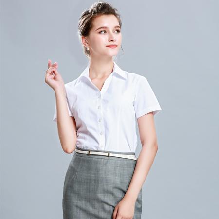 白衬衫女短袖职业衬衣工装正装修身棉质
