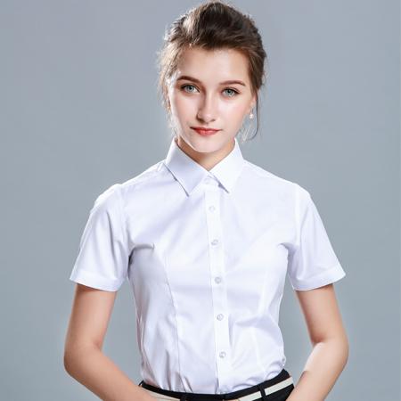 白色衬衫女短袖职业工作服