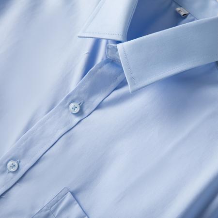 秋季长袖衬衫男青年商务职业工装浅蓝色
