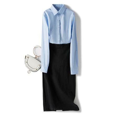 秋季长袖衬衫女职业工装浅蓝色