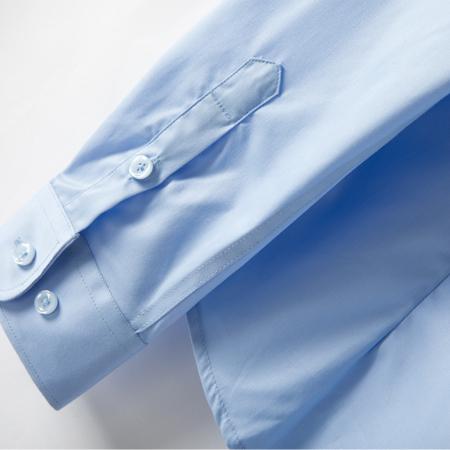春秋季牛津纺女士长袖浅蓝色衬衫