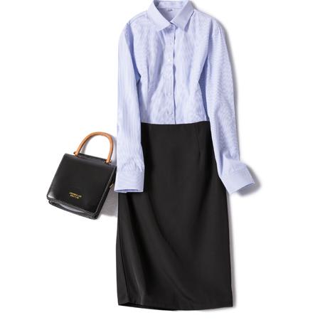 秋季长袖女职业工装条纹衬衫