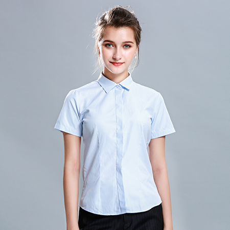 女士衬衫短袖天蓝色工作服商务