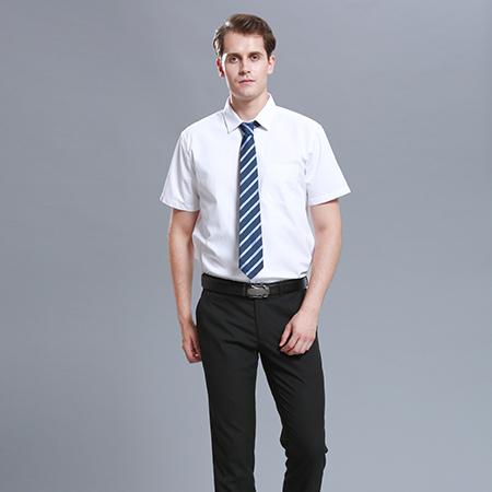 白色衬衫男士短袖商务修身工作服