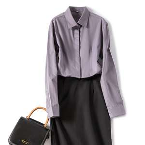 休闲衬衫灰色女长袖职业工作服