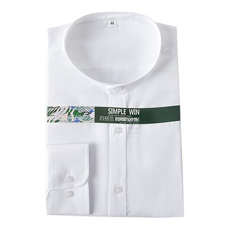 长袖纯色衬衫男修身商务休闲正装
