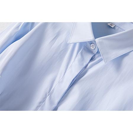 衬衫女长袖正装修身蓝衬衣