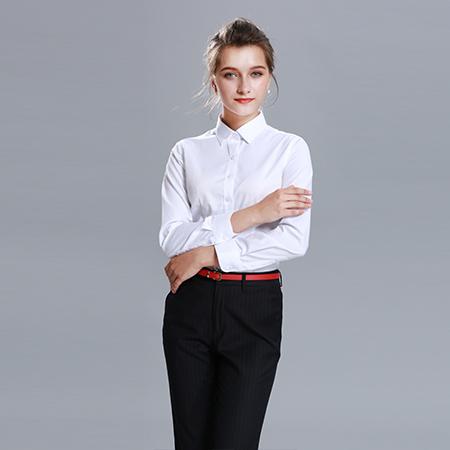 长袖纯色衬衫女修身商务休闲