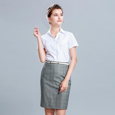 衬衫女短袖正装修身白衬衣