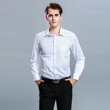 长袖休闲纯色衬衫男修身职业装