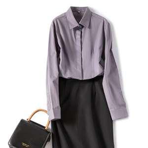 长袖休闲纯色衬衫女修身工装