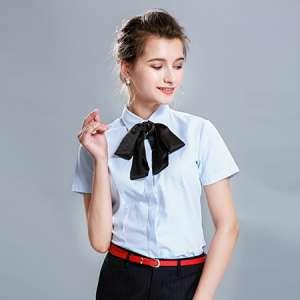 短袖纯色衬衫女修身商务休闲