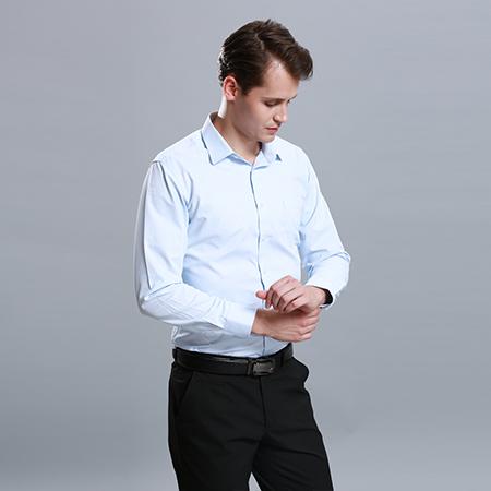 衬衫男长袖正装修身蓝衬衣