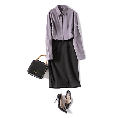 长袖休闲纯色衬衫女修身工作服