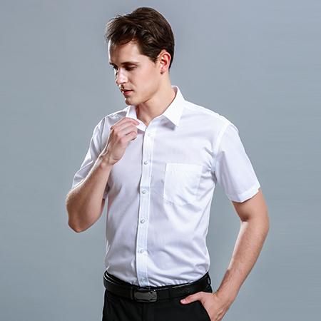 修身商务休闲短袖纯色衬衫男