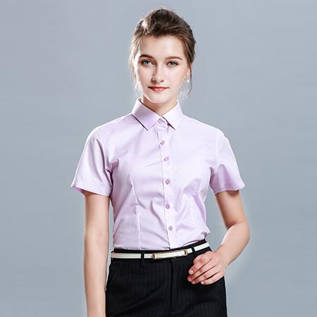 修身商务休闲短袖纯色衬衫女