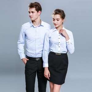 男女同款蓝色条纹长袖衬衫工作服
