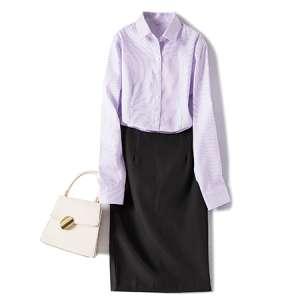 条纹衬衫女职业衬衣工作服