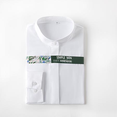 女士长袖商务标准白色正装修身衬衫