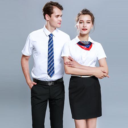 男女同款衬衫长袖正装修身白衬衣