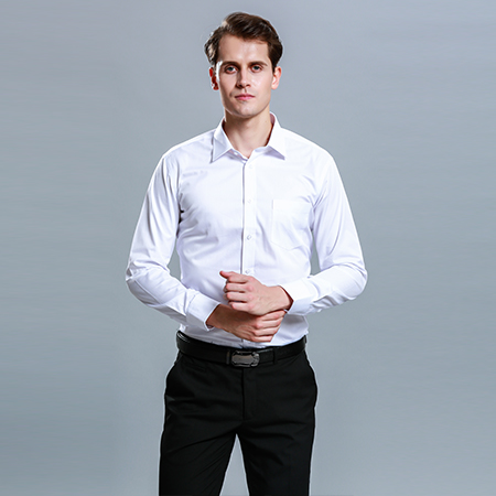 衬衫男长袖白色正装商务修身男装潮