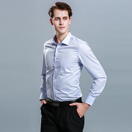 秋季蓝色衬衫男职业长袖正装