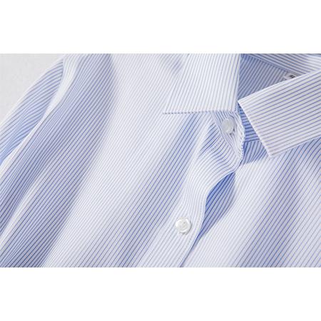 蓝色条纹长袖衬衫女士工作服