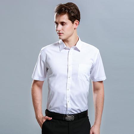 男士短袖商务标准白色正装修身衬衫