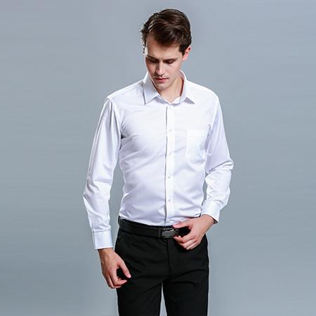 男士长袖商务标准白色正装修身衬衫