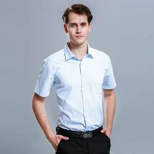 男士短袖商务标准蓝色正装修身衬衫