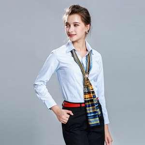 职业长袖衬衫正装蓝女工作服