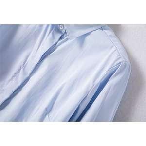 女士长袖商务标准蓝色正装修身衬衫