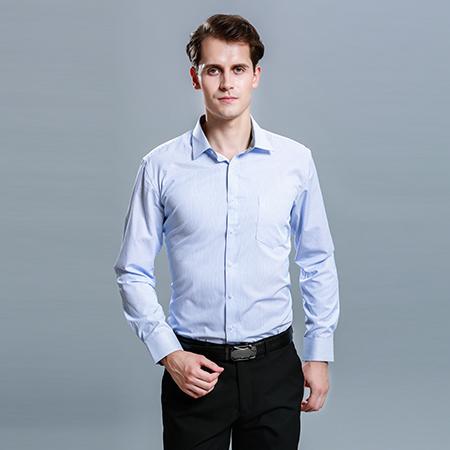 职业长袖衬衫正装蓝男工作服