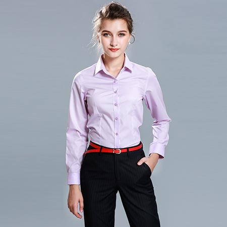 衬衫女长袖正装修身粉衬衣