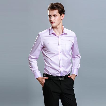 衬衫男长袖正装粉衬衣修身百搭