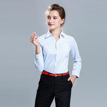 衬衫女长袖正装蓝衬衣修身百搭