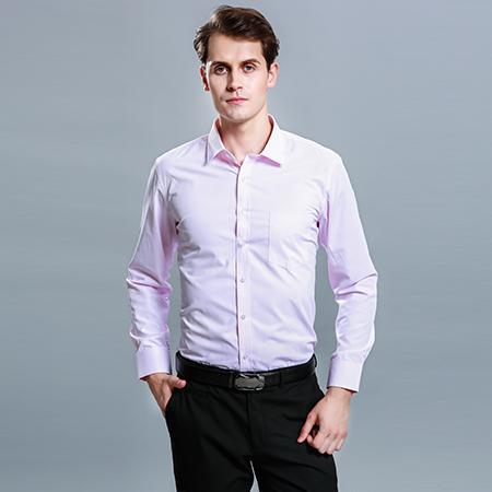 男士长袖商务标准粉色正装修身衬衫