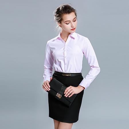 职业长袖衬衫正装粉女工作服