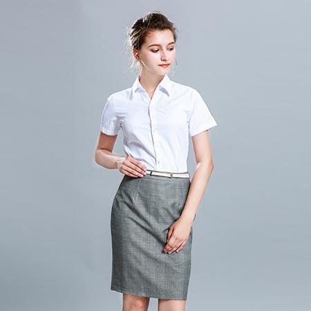 女士短袖商务标准白色正装修身衬衫