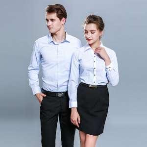 条纹衬衫男女同款职业衬衣工作服