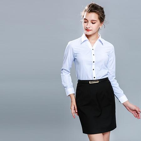 条纹长袖衬衫女士工作服