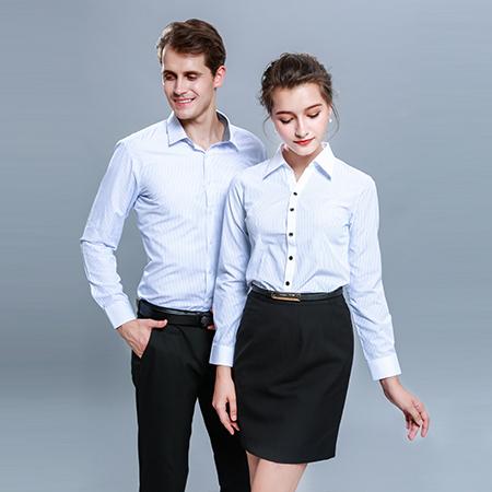男女同款条纹衬衫职业衬衣工作服